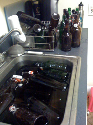 First clean the bottles, then sanitize 'em.