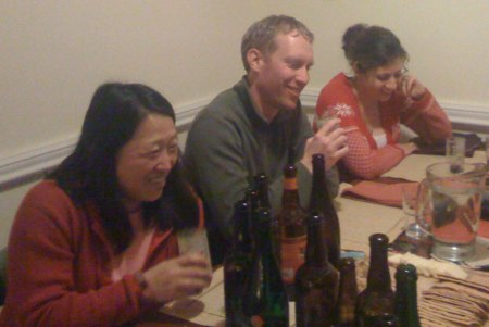 Seung, my partner in tastings and in life; Scott, neighbor and homebrewer; Kathryn (sp?), she hangs with Richard.