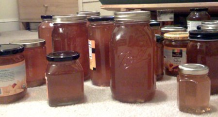 Bottles of homemade honey!
